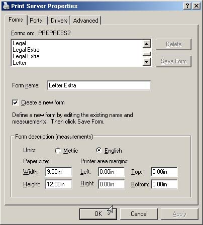 Adding Custom Paper Sizes to a Windows Printer: Step 4